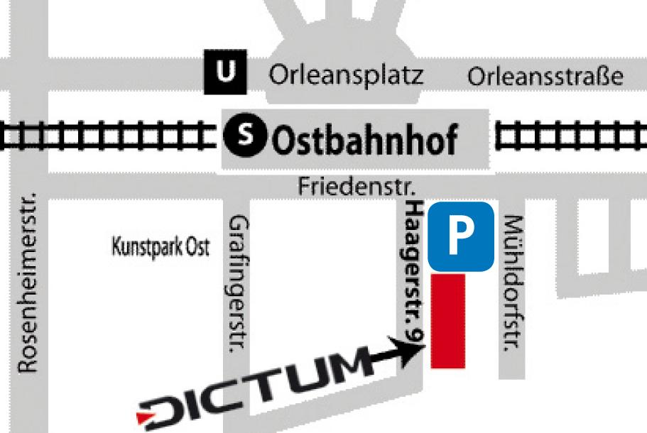 Anfahrtsskizze zum Dictum Shop in München (Haagerstr. 9, 2. Stock, 81671 München)